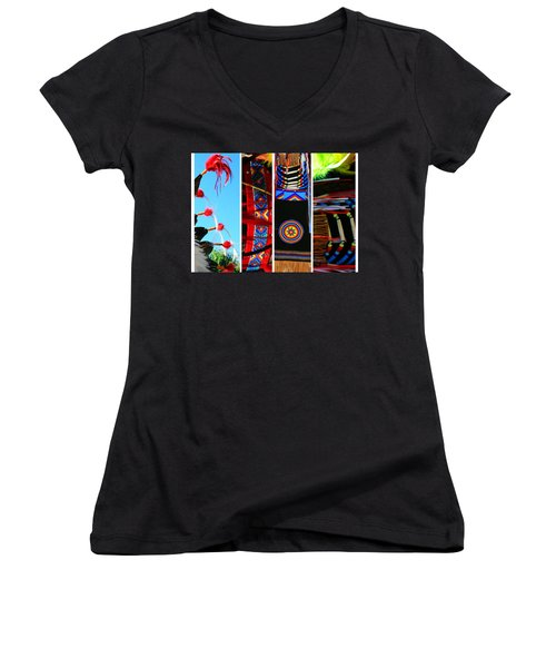 Slices Of Native American Heritage Women's V-Neck T-Shirt (Junior Cut) by Toni Hopper