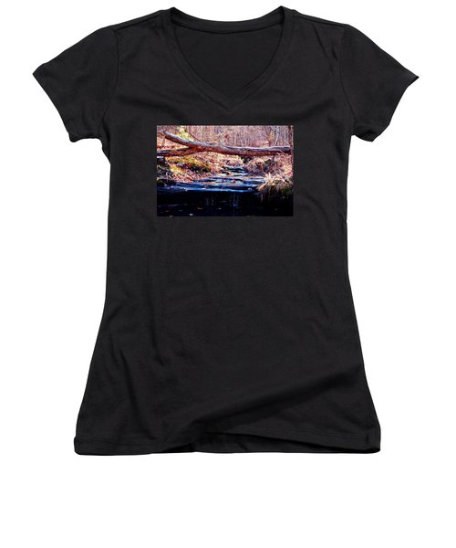 Women's V-Neck T-Shirt (Junior Cut) featuring the photograph Natural Spring Beauty  by Peggy Franz