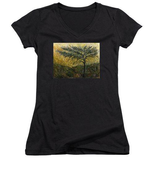 Nature Landscape Green Thorns Acacia Tree Flowers Sunset In Yellow Clouds Sky  Women's V-Neck T-Shirt