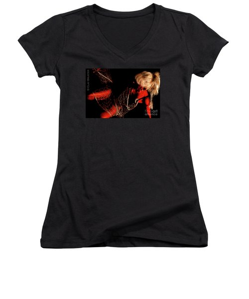 Women's V-Neck T-Shirt (Junior Cut) featuring the photograph Netted A Red by Clayton Bruster