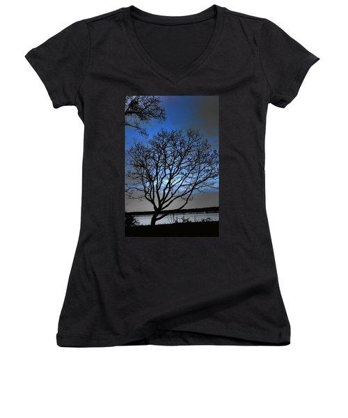 Night On The River Women's V-Neck T-Shirt (Junior Cut) by Dan Stone