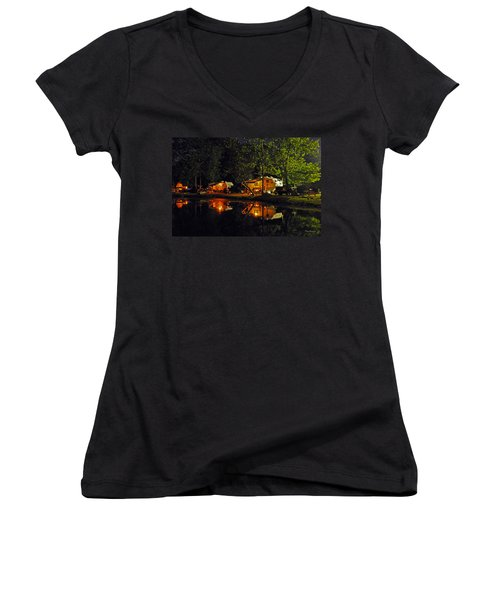 Women's V-Neck T-Shirt (Junior Cut) featuring the photograph Nighttime In The Campground by Kay Lovingood