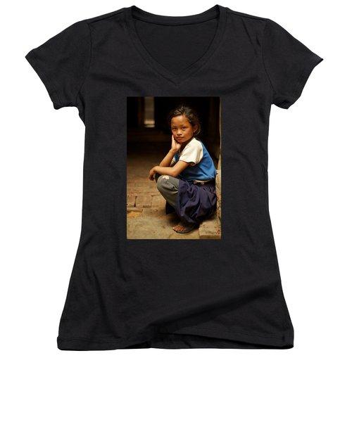 Nine Years Old Women's V-Neck T-Shirt (Junior Cut) by Valerie Rosen