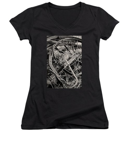 Women's V-Neck featuring the photograph No More Plowing by Ron Cline