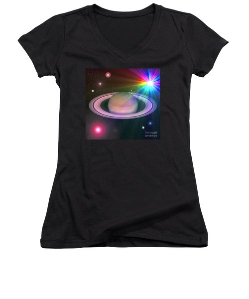 Nova Rainbow Women's V-Neck T-Shirt (Junior Cut) by Greg Moores