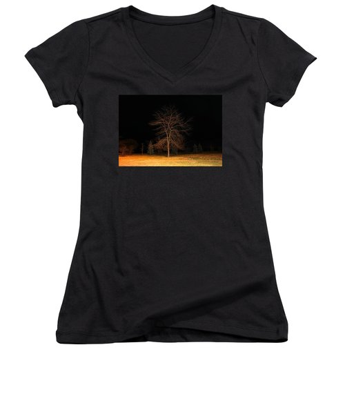 Women's V-Neck T-Shirt (Junior Cut) featuring the photograph November Night by Milena Ilieva