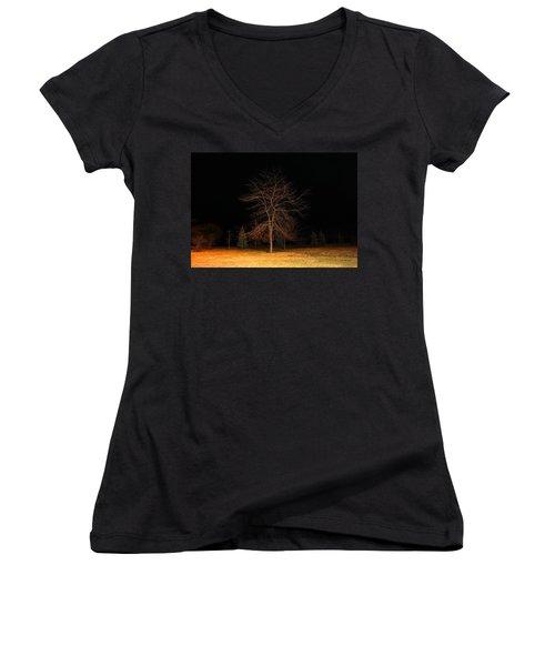 November Night Women's V-Neck T-Shirt (Junior Cut) by Milena Ilieva