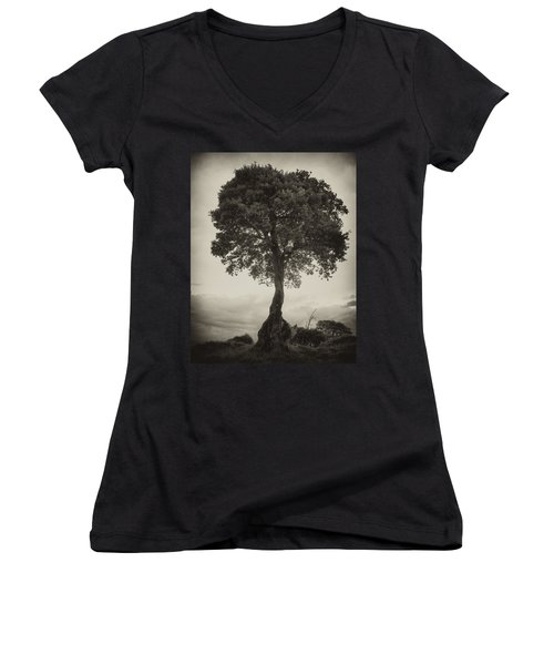 Women's V-Neck T-Shirt (Junior Cut) featuring the photograph Oak Tree by Hugh Smith