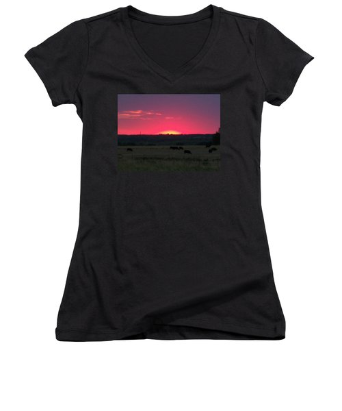 Okie Sunset Women's V-Neck T-Shirt (Junior Cut) by Adam Cornelison
