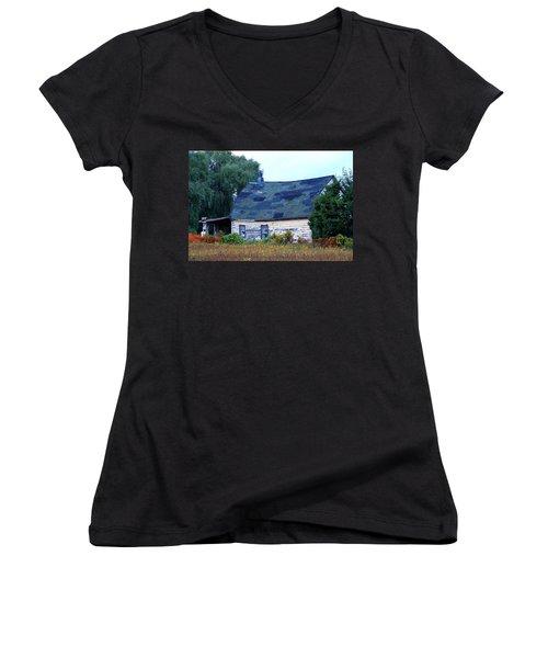 Women's V-Neck T-Shirt (Junior Cut) featuring the photograph Old Barn by Davandra Cribbie
