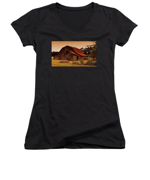 Women's V-Neck T-Shirt (Junior Cut) featuring the photograph Old Barn by Lydia Holly