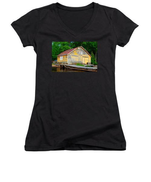 Women's V-Neck T-Shirt (Junior Cut) featuring the photograph Old Cabin by Les Palenik