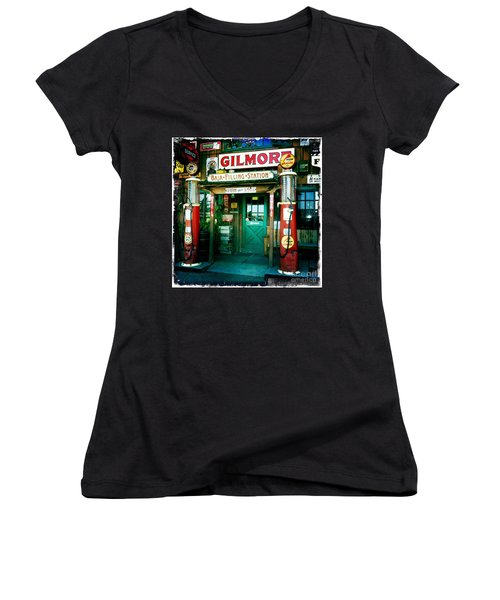 Old Fashioned Filling Station Women's V-Neck T-Shirt