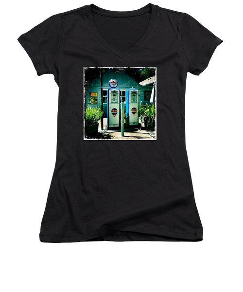 Old Fashioned Gas Station Women's V-Neck T-Shirt
