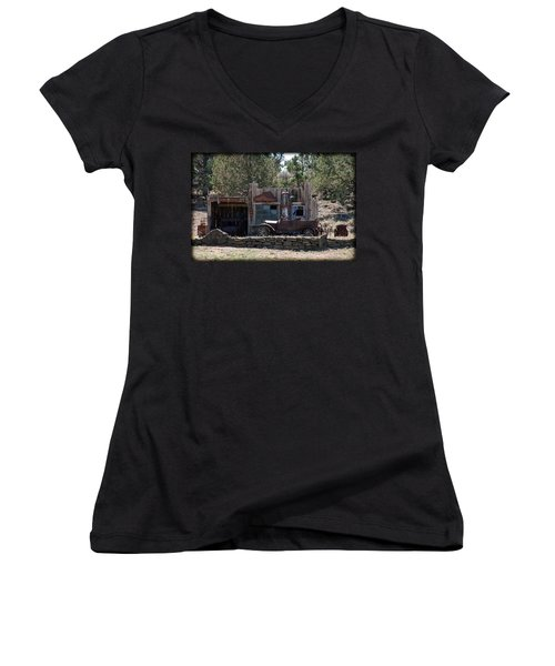 Old Filling Station Women's V-Neck T-Shirt (Junior Cut) by Athena Mckinzie