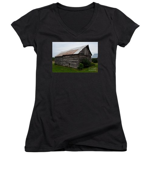 Women's V-Neck T-Shirt (Junior Cut) featuring the photograph Old Log Building by Barbara McMahon