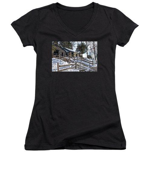 Old Rock Building  Women's V-Neck T-Shirt