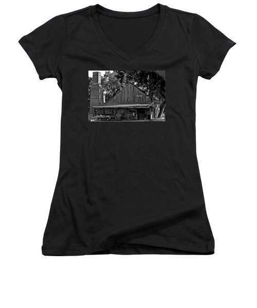 Women's V-Neck T-Shirt (Junior Cut) featuring the photograph Old Spanish Sugar Mill by DigiArt Diaries by Vicky B Fuller