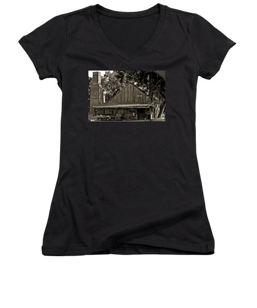 Women's V-Neck T-Shirt (Junior Cut) featuring the photograph Old Spanish Sugar Mill Old Photo by DigiArt Diaries by Vicky B Fuller