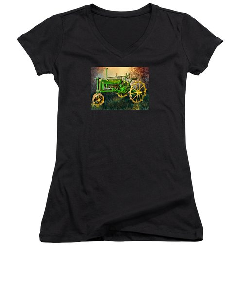 Women's V-Neck T-Shirt (Junior Cut) featuring the digital art Old Tractor by Mary Almond