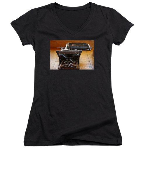 Women's V-Neck T-Shirt (Junior Cut) featuring the photograph Old West 8 by Deniece Platt