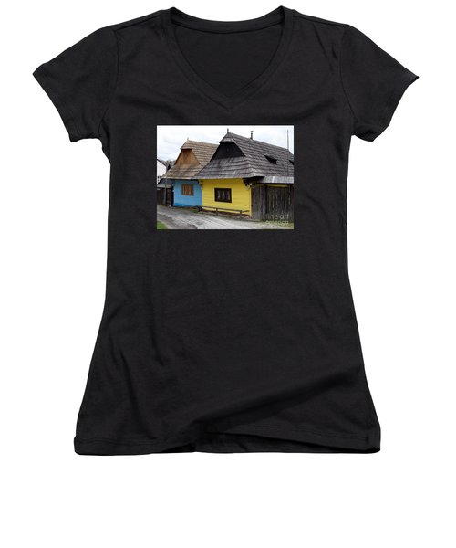 Women's V-Neck T-Shirt (Junior Cut) featuring the photograph Old Wooden Homes by Les Palenik