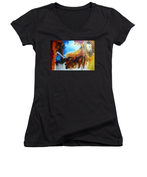 On Safari Women's V-Neck T-Shirt (Junior Cut) by Keith Thue