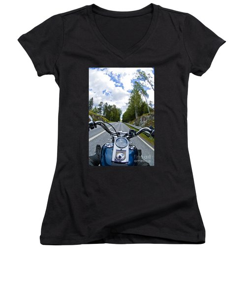 On The Bike Women's V-Neck T-Shirt (Junior Cut) by Micah May