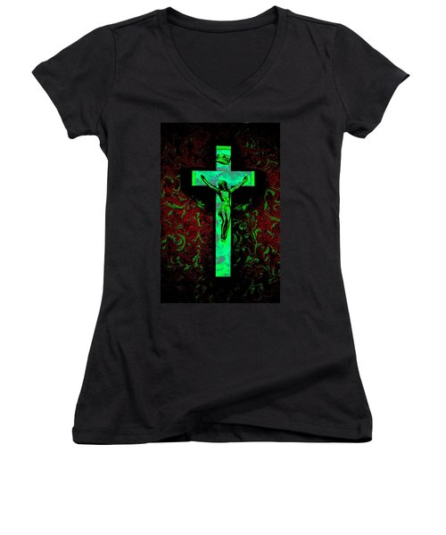 Women's V-Neck T-Shirt (Junior Cut) featuring the photograph On The Cross by David Pantuso
