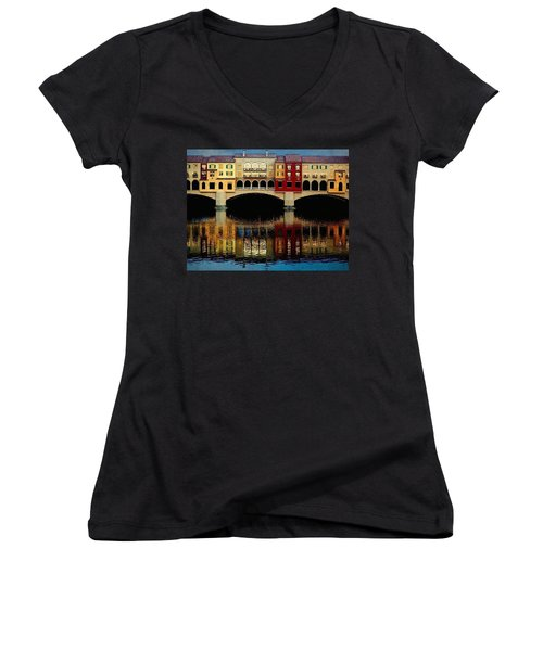 Women's V-Neck T-Shirt (Junior Cut) featuring the photograph On The Lake by Tammy Espino