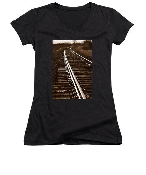 On The Right Track Women's V-Neck T-Shirt