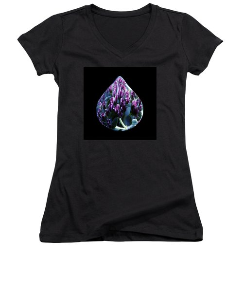Women's V-Neck featuring the photograph One Drop Of Water by Barbara St Jean
