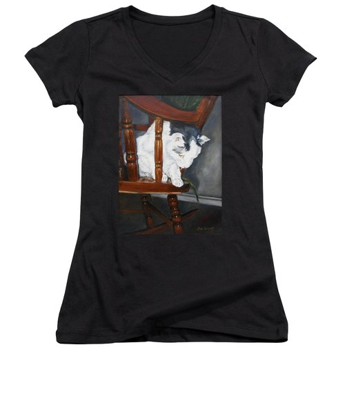 Women's V-Neck T-Shirt (Junior Cut) featuring the painting Oops by Lori Brackett
