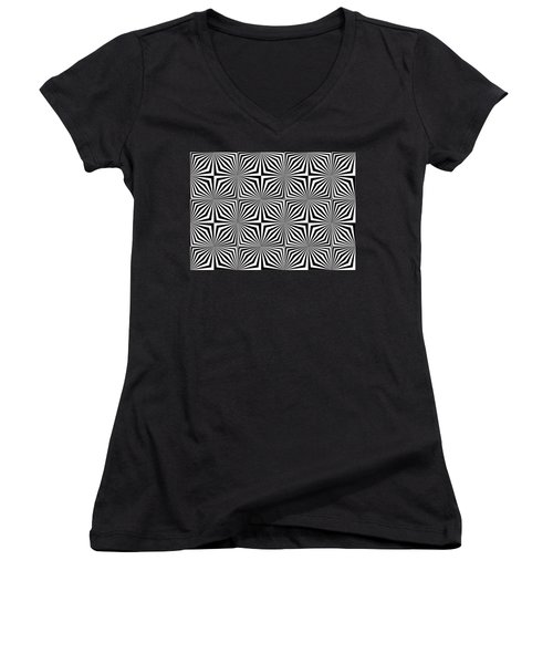 Optical Illusion Spots Or Stares Women's V-Neck
