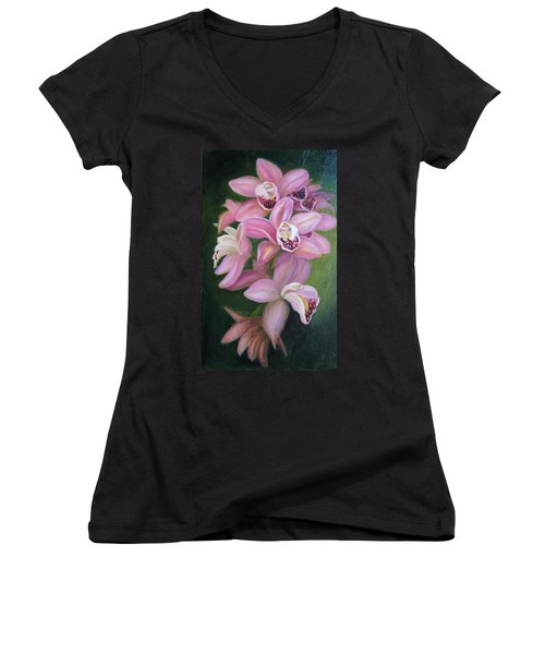 Women's V-Neck T-Shirt (Junior Cut) featuring the painting Orchids by Marlyn Boyd