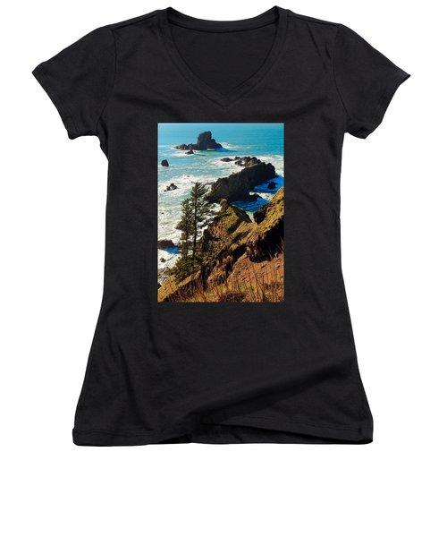 Women's V-Neck T-Shirt (Junior Cut) featuring the photograph Oregon Coast by Athena Mckinzie
