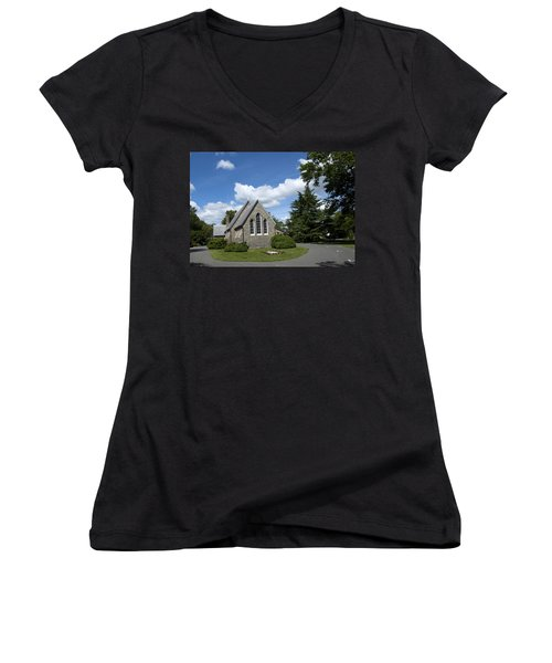 Women's V-Neck T-Shirt (Junior Cut) featuring the photograph Oxford Church by Charles Kraus