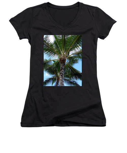 Women's V-Neck T-Shirt (Junior Cut) featuring the photograph Palm Tree Umbrella by Athena Mckinzie