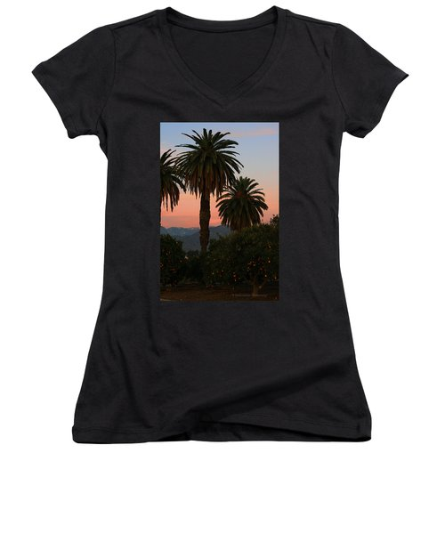 Palm Trees And Orange Trees Women's V-Neck (Athletic Fit)