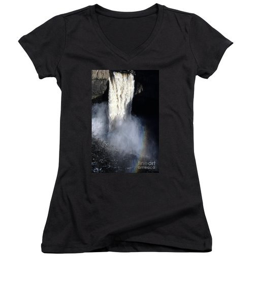 Women's V-Neck T-Shirt (Junior Cut) featuring the photograph Palouse Falls by Sharon Elliott