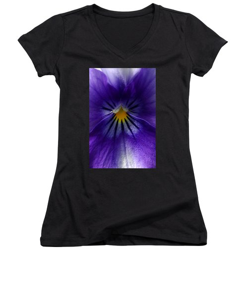 Pansy Abstract Women's V-Neck T-Shirt (Junior Cut) by Lisa Phillips