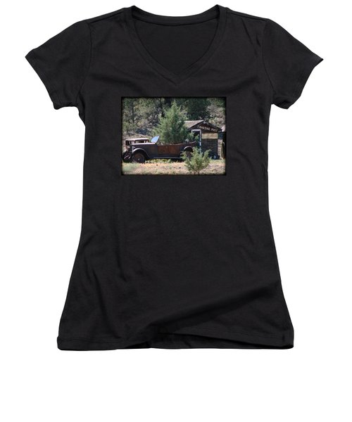 Parked At The Trading Post Women's V-Neck T-Shirt (Junior Cut) by Athena Mckinzie