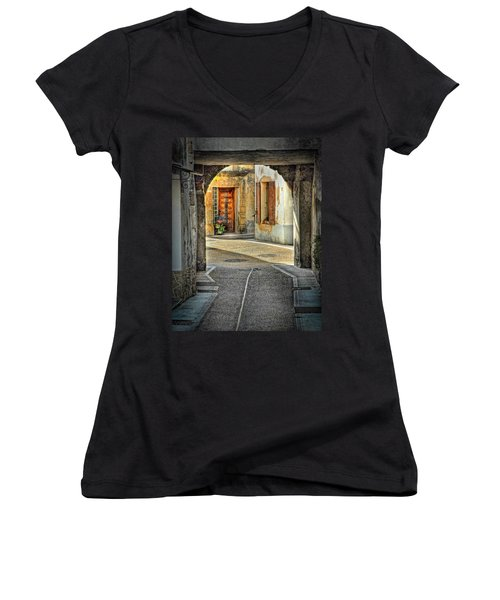 Women's V-Neck T-Shirt (Junior Cut) featuring the photograph Passageway And Arch In Provence by Dave Mills