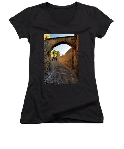 Women's V-Neck T-Shirt (Junior Cut) featuring the photograph Pathway Through Gordes France by Dave Mills