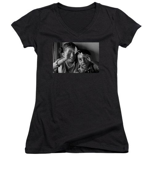 Peace And Love Women's V-Neck T-Shirt (Junior Cut) by Valerie Rosen