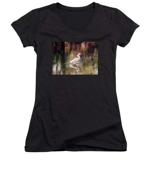 Women's V-Neck T-Shirt (Junior Cut) featuring the photograph Peaceful Waters by Lydia Holly