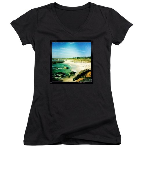 Women's V-Neck T-Shirt (Junior Cut) featuring the photograph Pebble Beach by Nina Prommer