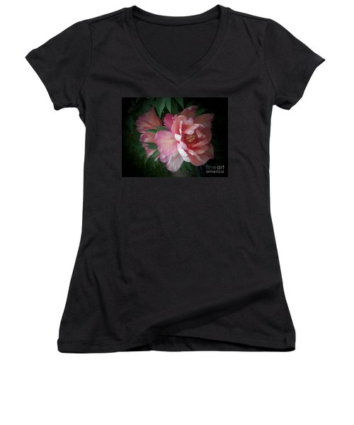 Peonies No. 8 Women's V-Neck (Athletic Fit)