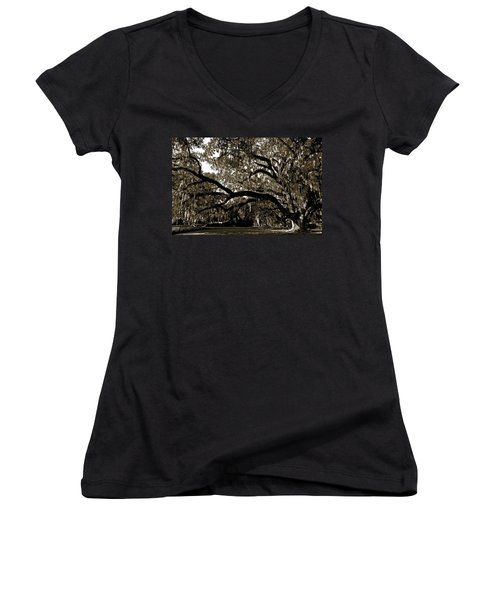 Women's V-Neck T-Shirt (Junior Cut) featuring the photograph Picnic Under The Oak by DigiArt Diaries by Vicky B Fuller