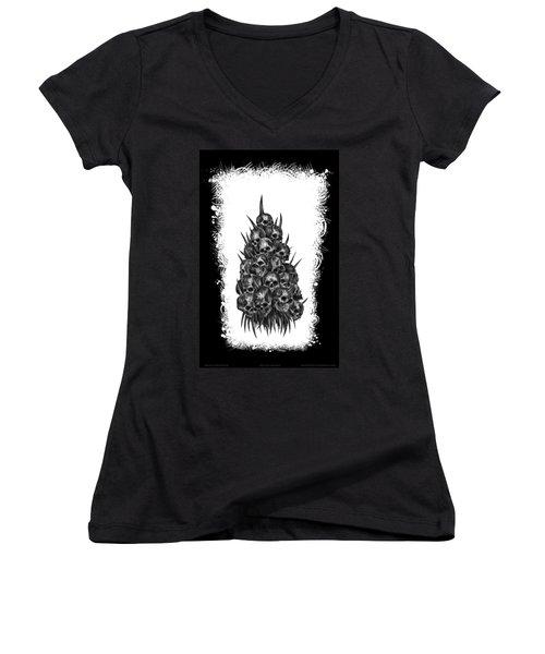 Pile Of Skulls Women's V-Neck T-Shirt (Junior Cut) by Tony Koehl